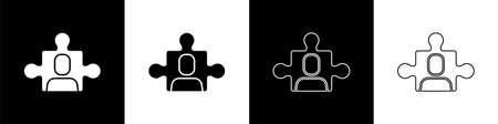 Set Project team base icon isolated on black and white background. Business analysis and planning, consulting, team work, project management. Vector