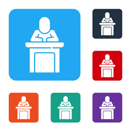 White Speaker icon isolated on white background. Orator speaking from tribune. Public speech. Person on podium. Set icons in color square buttons. Vector Illusztráció