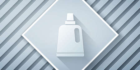 Paper cut Plastic bottle for laundry detergent, bleach, dishwashing liquid or another cleaning agent icon isolated on grey background. Paper art style. Vector