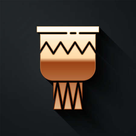 Gold Drum icon isolated on black background. Music sign. Musical instrument symbol. Long shadow style. Vector