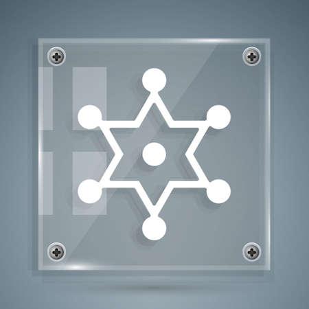 White Hexagram sheriff icon isolated on grey background. Police badge icon. Square glass panels. Vector Illusztráció