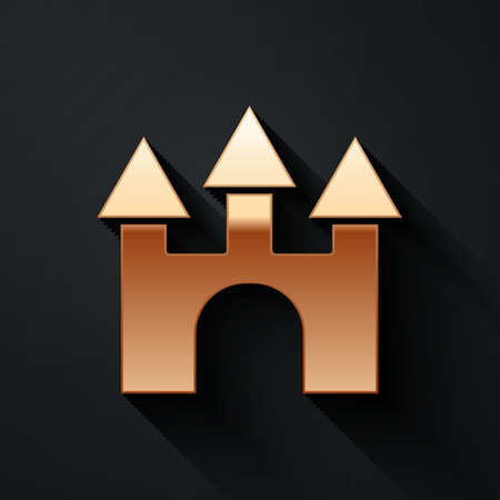 Gold Castle icon isolated on black background. Long shadow style. Vector