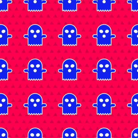 Blue Ghost icon isolated seamless pattern on red background. Happy Halloween party. Vector Иллюстрация