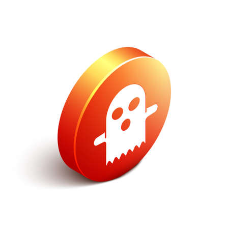 Isometric Ghost icon isolated on white background. Happy Halloween party. Orange circle button. Vector