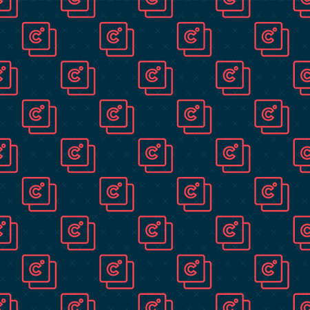 Red line Celsius icon isolated seamless pattern on black background. Vector Illusztráció