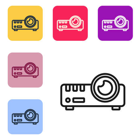 Black line Presentation, movie, film, media projector icon isolated on white background. Set icons in color square buttons. Vector