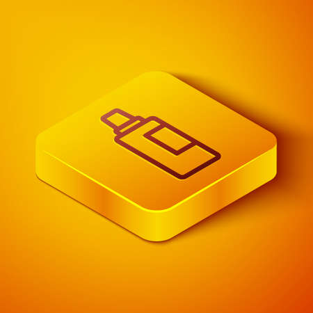 Isometric line Plastic bottle for laundry detergent, bleach, dishwashing liquid or another cleaning agent icon isolated on orange background. Yellow square button. Vector Illusztráció