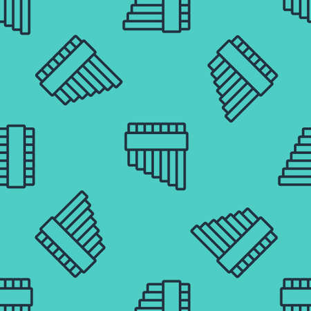 Black line Pan flute icon isolated seamless pattern on green background. Traditional peruvian musical instrument. Zampona. Folk instrument from Peru, Bolivia and Mexico. Vector Иллюстрация