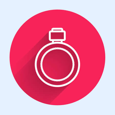 White line Canteen water bottle icon isolated with long shadow. Tourist flask icon. Jar of water use in the campaign. Red circle button. Vector Illusztráció