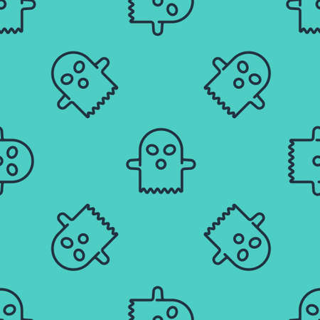 Black line Ghost icon isolated seamless pattern on green background. Happy Halloween party. Vector Иллюстрация