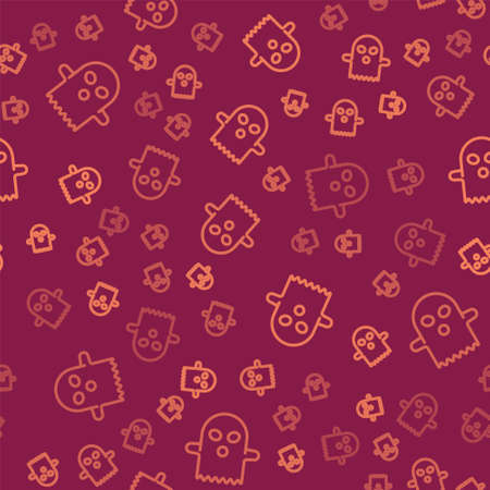 Brown line Ghost icon isolated seamless pattern on red background. Happy Halloween party. Vector