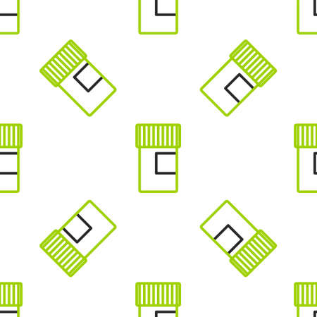 Line Medicine bottle icon isolated seamless pattern on white background. Bottle pill sign. Pharmacy design. Colorful outline concept. Vector Illustration
