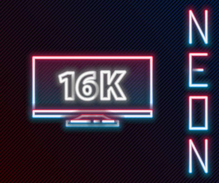Glowing neon line Screen tv with 16k Ultra HD video technology icon isolated on black background. Colorful outline concept. Vector Illustration