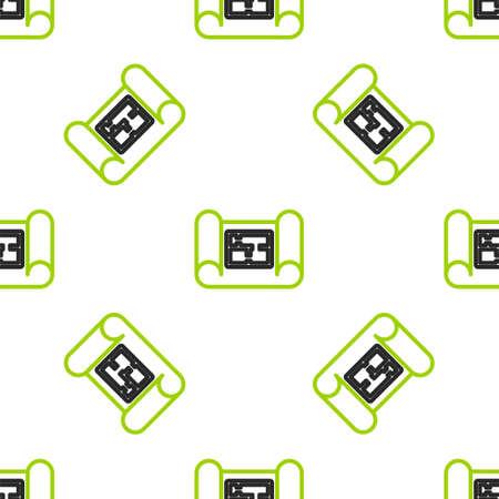 Line House plan icon isolated seamless pattern on white background. Vector Illustration Ilustracja