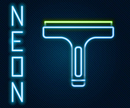 Glowing neon line Cleaning service with of rubber cleaner for windows icon isolated on black background. Squeegee, scraper, wiper. Colorful outline concept. Vector
