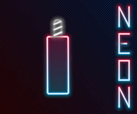 Glowing neon line Detonate dynamite bomb stick icon isolated on black background. Time bomb - explosion danger concept. Colorful outline concept. Vector