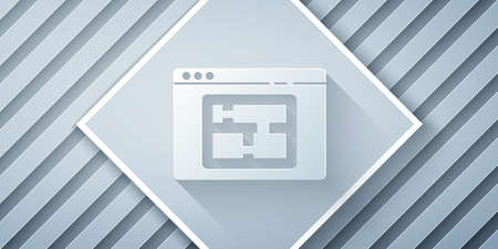 Paper cut House plan icon isolated on grey background. Paper art style. Vector Illustration