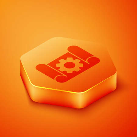 Isometric Graphing paper for engineering and gear icon isolated on orange background. Orange hexagon button. Vector Illustration