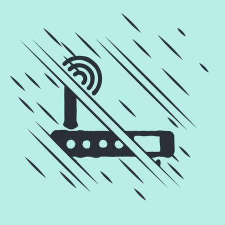 Black Router and wifi signal icon isolated on green background. Wireless   modem router. Computer technology internet. Glitch style. Vector Illustration