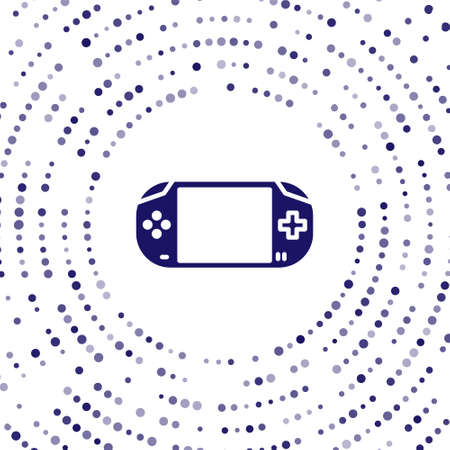 Blue Portable video game console icon isolated on white background. Gamepad sign. Gaming concept. Abstract circle random dots. Vector Illustration