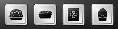 Set Burger, Chicken nuggets in box, Hard bread chucks crackers and Popcorn in box icon. Silver square button. Vector 矢量图片