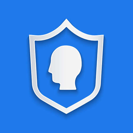 Paper cut User protection icon isolated on blue background. Secure user login, password protected, personal data protection, authentication. Paper art style. Vector