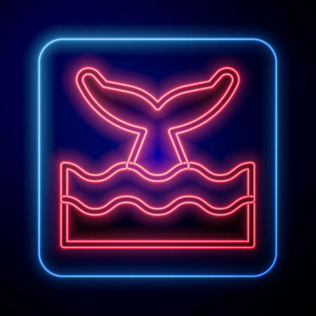 Glowing neon Whale tail in ocean wave icon isolated on blue background. Vector