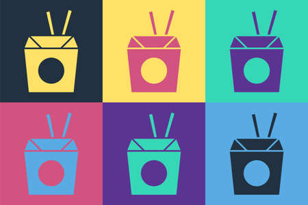 Pop art Asian noodles in paper box and chopsticks icon isolated on color background. Street fast food. Korean, Japanese, Chinese food. Vector