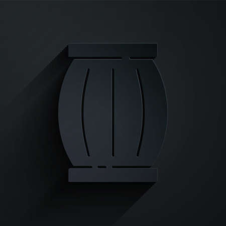 Paper cut Gun powder barrel icon isolated on black background. TNT dynamite wooden old barrel. Paper art style. Vector