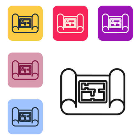 Black line House plan icon isolated on white background. Set icons in color square buttons. Vector Illustration