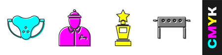 Set Protective sport jockstrap, Hockey coach, Award cup and Hockey table icon. Vector