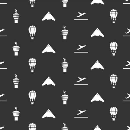 Set Plane takeoff, Hot air balloon, Radar and Jet fighter on seamless pattern. Vector
