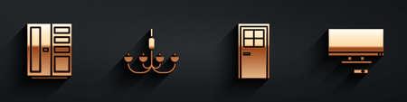 Set Wardrobe, Chandelier, Closed door and Smart Tv icon with long shadow. Vector 일러스트