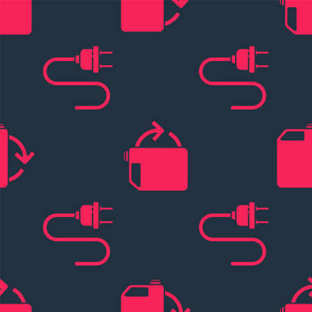 Set Electric plug and Eco fuel canister on seamless pattern. Vector
