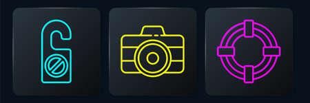 Set line Please do not disturb, Lifebuoy and Photo camera. Black square button. Vector Vektoros illusztráció