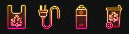 Set line Battery, Plastic bag with recycle, Electric plug and Recycle bin with recycle. Glowing neon icon. Vector