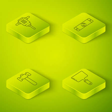 Set Isometric Construction bubble level, Hammer, Putty knife and Electric rotary hammer drill icon. Vector Vettoriali
