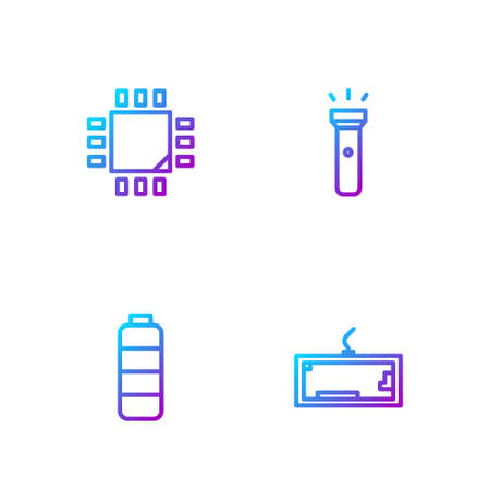 Set line Keyboard, Battery charge level indicator, Processor with microcircuits CPU and Flashlight. Gradient color icons. Vector