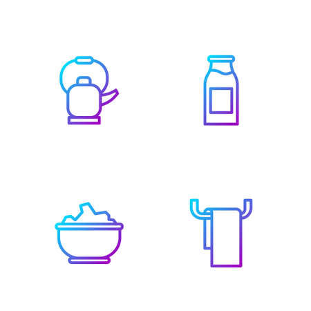 Set line Towel on a hanger, Sea salt in bowl, Kettle with handle and Bottle milk. Gradient color icons. Vector