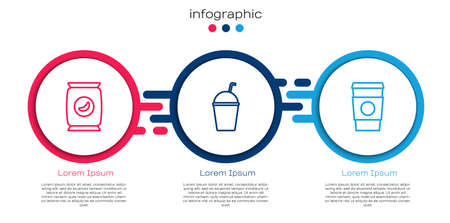 Set line Bag or packet potato chips, Milkshake and Coffee cup go. Business infographic template. Vector