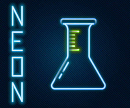Glowing neon line Test tube and flask icon isolated on black background. Chemical laboratory test. Laboratory glassware. Colorful outline concept. Vector Illustration
