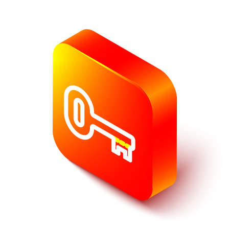 Isometric line Old key icon isolated on white background. Orange square button. Vector Illustration