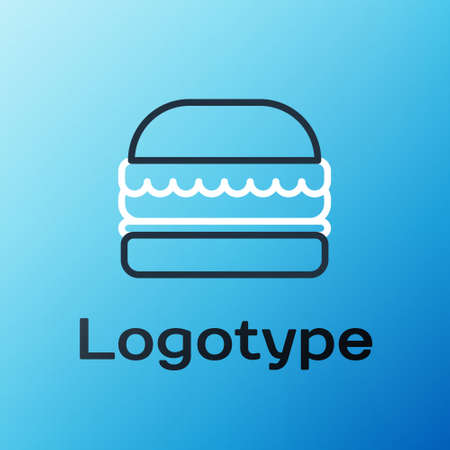 Line Burger icon isolated on blue background. Hamburger icon. Cheeseburger sandwich sign. Fast food menu. Colorful outline concept. Vector Illustration