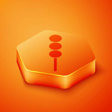 Isometric Meatballs on wooden stick icon isolated on orange background. Skewer with meat. Orange hexagon button. Vector Illustration