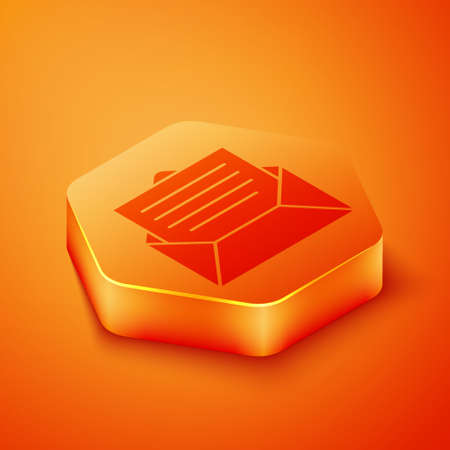 Isometric Envelope icon isolated on orange background. Email message letter symbol. Orange hexagon button. Vector Illustration