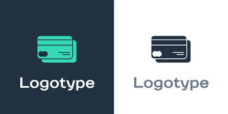Logotype Credit card icon isolated on white background. Online payment. Cash withdrawal. Financial operations. Shopping sign. Logo design template element. Vector Illustration