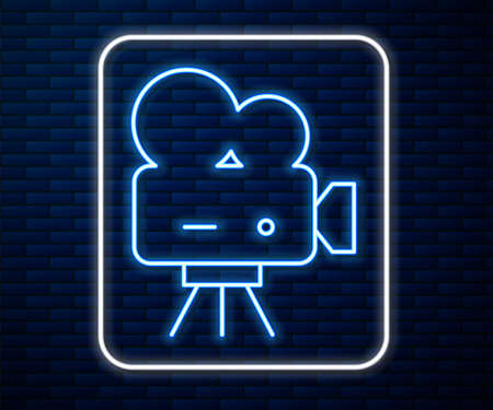 Glowing neon line Retro cinema camera icon isolated on brick wall background. Video camera. Movie sign. Film projector. Vector Illustration