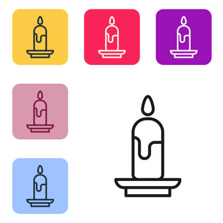 Black line Burning candle icon isolated on white background. Cylindrical candle stick with burning flame. Set icons in color square buttons. Vector Illustration