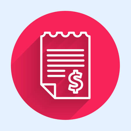 White line Paper or financial check icon isolated with long shadow. Paper print check, shop receipt or bill. Red circle button. Vector Illustration