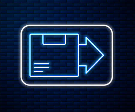 Glowing neon line Carton cardboard box icon isolated on brick wall background. Box, package, parcel sign. Delivery and packaging. Vector Illustration